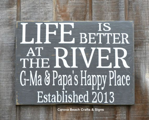 Life Is Better  at the River House Decor  River Custom Personalized Family Name Sign Wood Hand Painted