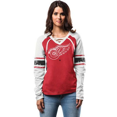 Women's Detroit Red Wings Majestic Red Shorthanded Fashion Long Sleeve T-Shirt