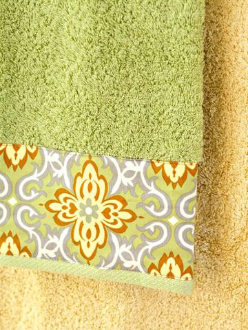 """Embellished Towels Band your hand and bath towels by topstitching wide borders of fabric along the edges. Towels take a lot of abuse in the washing machine, so we recommend prewashing your fabrics to prevent shrinkage. Or simply make towels that are """"hands off"""" for everyday use and display them as decoration only."""