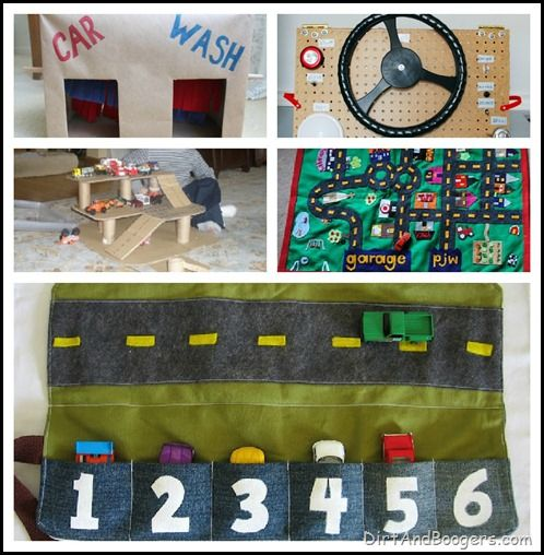 50 Homemade Toys for Kids: a list of links. some are mainly for your own kids (see pic of the cardboard carwash) but some would make great gifts for other kids! (see pic of felt car roll w/road)