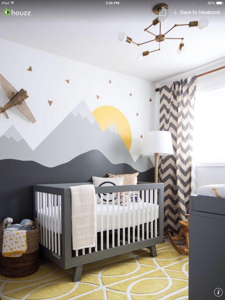 Baby's room IN WHITE, DARK GREY  AND MUSTARD