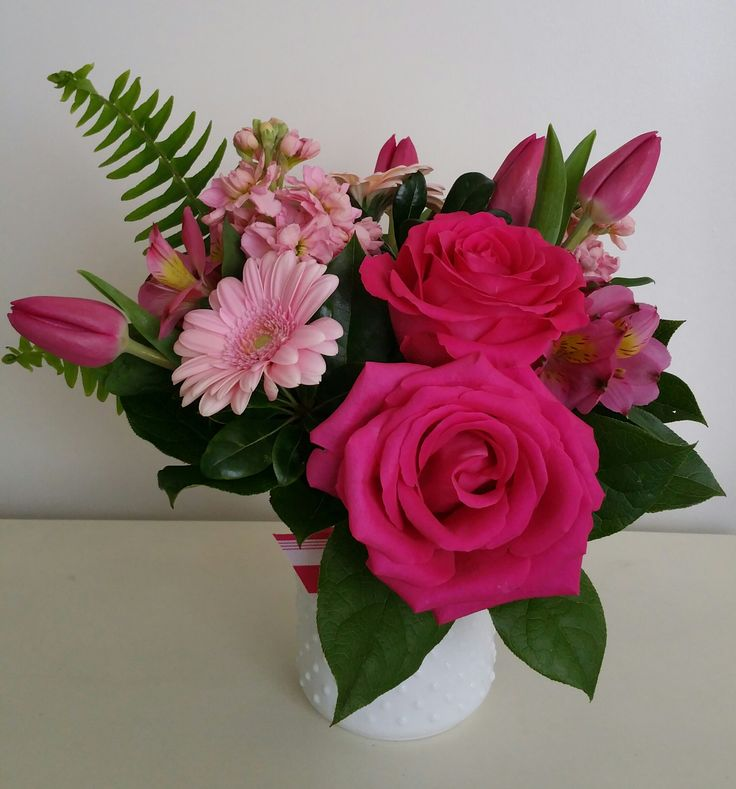 Pink Cadillac (Bruce Springsteen)  Hot pink roses, light pink gerbera daisy, pink tulips, pink stock, and pink alstroemeria.