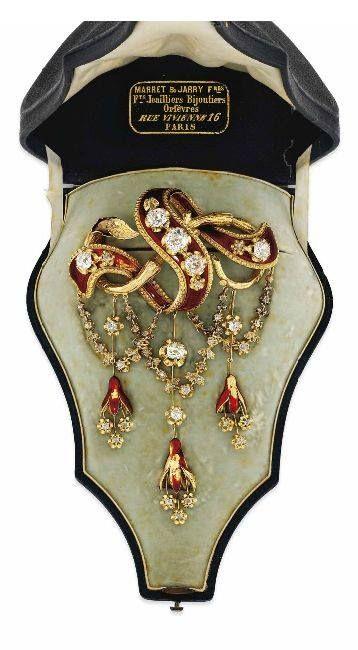 Spilla da corpetto francese, in diamanti e smalto, del 1850 ca.