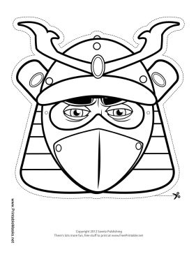 Male Samurai Mask to Color Printable