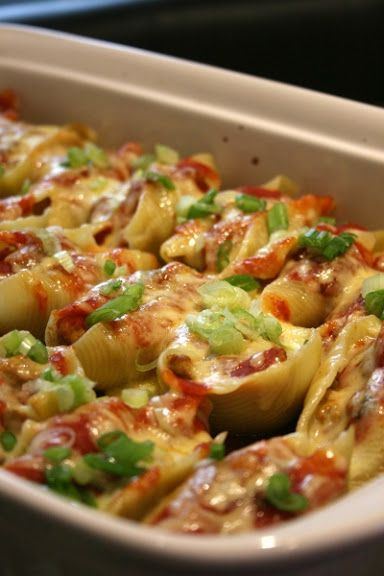 Mexican Stuffed Shells except without ground turkey and ground beef, and no cream cheese