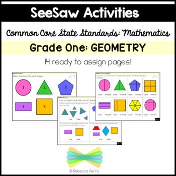 SeeSaw Activities - Grade One - First Grade Math Geometry - Common Core State Standards - Activity pages & assessments - Digital Resources - Digital Assessments