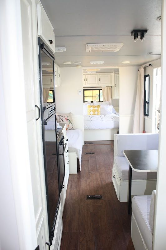 travel trailer ...LUV the window in the bedroom! Wish mine had that!! And LUV the floors!