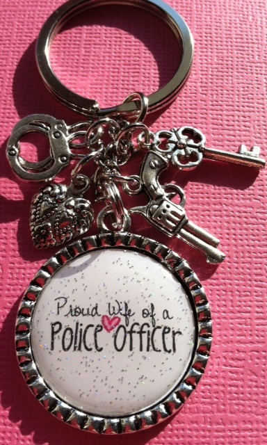 Proud Wife Of A Police Officer Keychain by TheLittleGreenWagon, $14.50