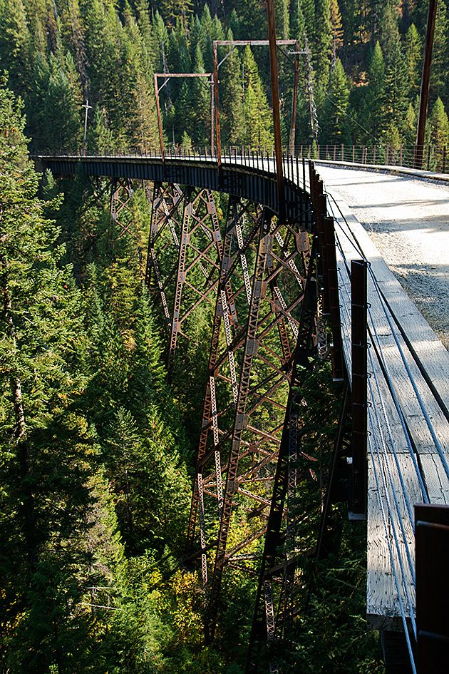 Bike the Hiawatha Trail in Idaho  Billed as one of America's most unforgettable bike rides, the 15-mile Hiawatha Trail follows the path of a former train route through pitch-black tunnels and across bridges which overlook vast valleys of pine.