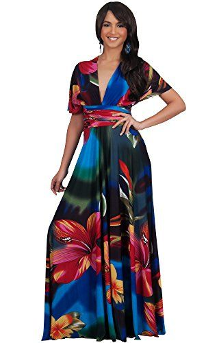 KOH KOH Womens Long Convertible Wrap Infinity Floral Summer Maxi Dress Maxi Dress Color Cobalt  Royal Blue Size Medium  M  810 ** Click image to review more details.