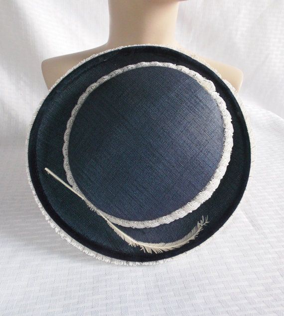 1950's Vintage Navy Blue and White Hat With by MyVintageHatShop, $34.00
