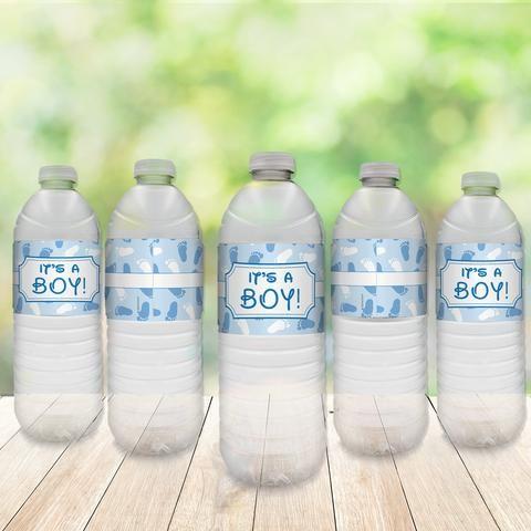 It's A Boy Baby Shower Party Water Bottle Sticker Labels (Set of 20)