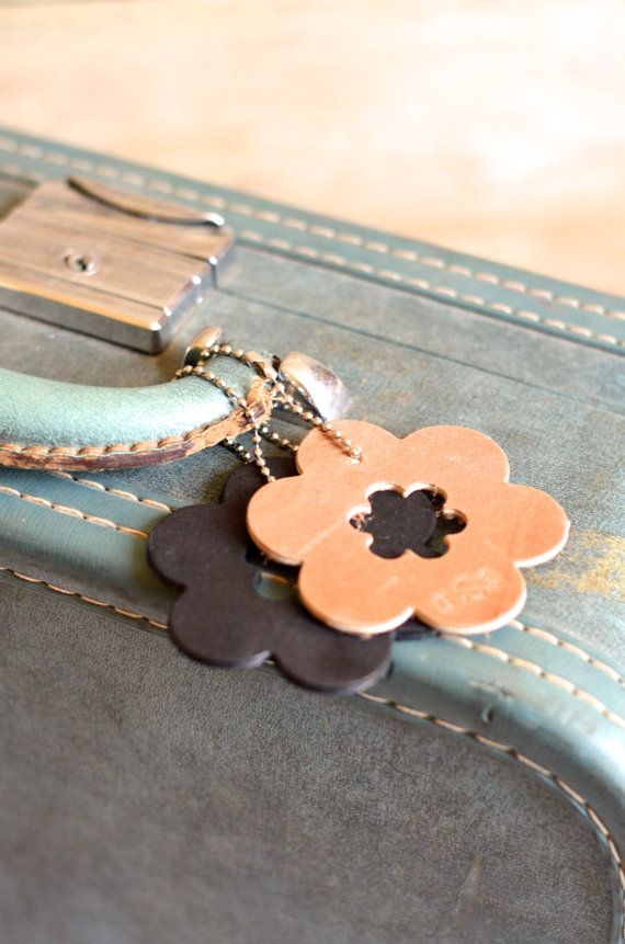 Add this lovely leather flower to your luggage, backpack, or diaper bag to mark it as yours and make it stand out in a crowd!