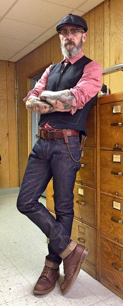 3Sixteen ST140x denim, Woolrich railroad waistcoat, 1950's cork sole work boots, Grandpa's 1950's chain wallet, 1970's belt and buckle.