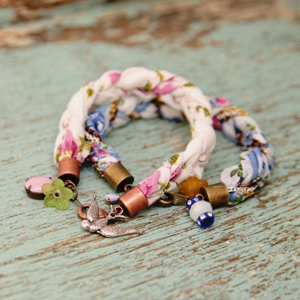 DIY Sweet Hankie Bracelets - the little end caps and charms make it - not sure vintage would work given color palates, but...