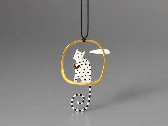 kissthefrogstudio. lovecat. Gold plated matte silver 925,with enamel hand painted figure and fine fluid glass finish on top.