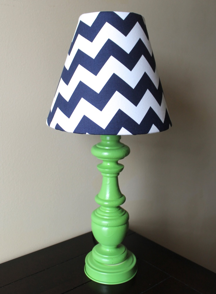 Navy Blue and Green Chevron Lamp OOAK by starlightsbyamber - would chose orange base
