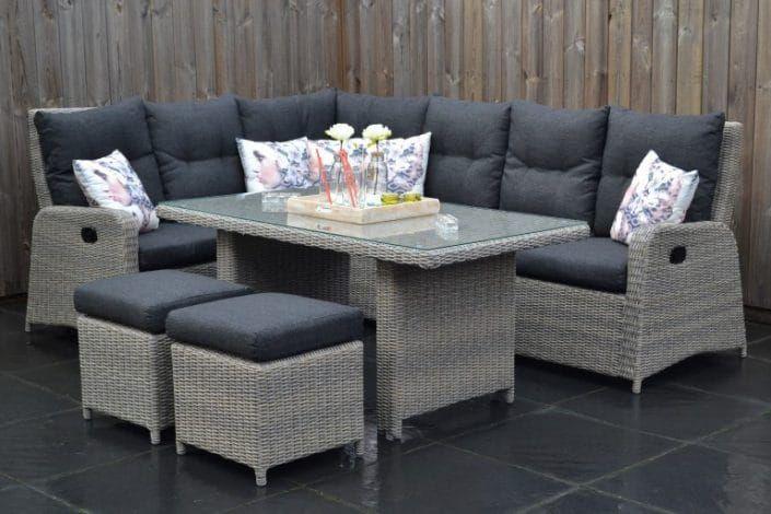 Maryland Verstellbares Dining Lounge Set 3er Mit Esstisch Und 2 Hocker Sandgrau Meliert Garten Mobel Fur Dich In 2020 Lounge Mobel Lounge Gartenmobel