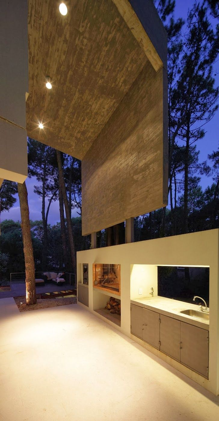 Small Modern Vacation Residence Featuring Exposed Concrete in Cariló, Argentina