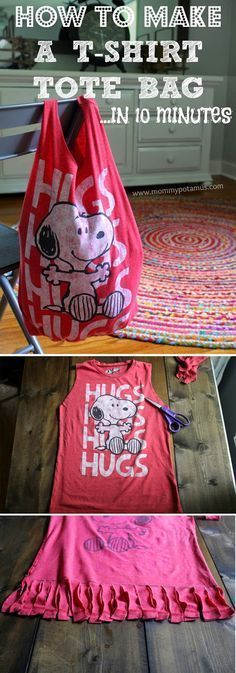 Craftaholics Anonymous  NoSew Tshirt Bag Tutorial