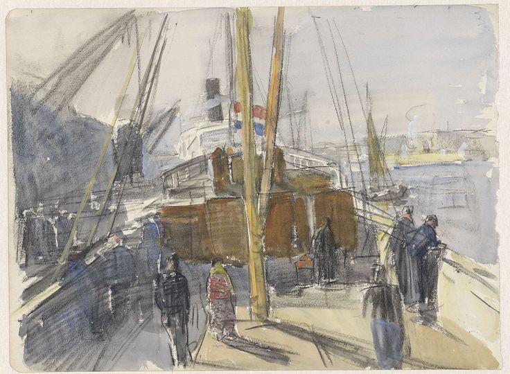 Achterplecht van een passagiersschip met Hollandse vlag, Johan Antonie de Jonge, 1874 - 1927