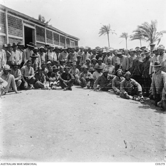 Alexandria, Egypt. c 1915. A group of convalescent patients outside the 1st British Red Cross Hospital in Montazah. The home was maintained by the British and Australian Red Cross Societies. Some ...