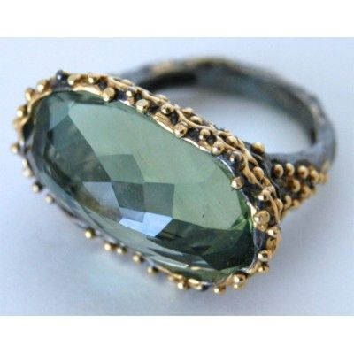 Bora Green Amethyst, Sterling and Bronze Ring