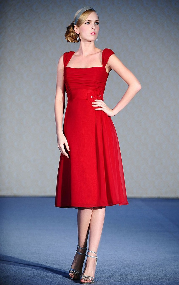 Womens fancy a line tea length square red dress online for Red tea length wedding dress