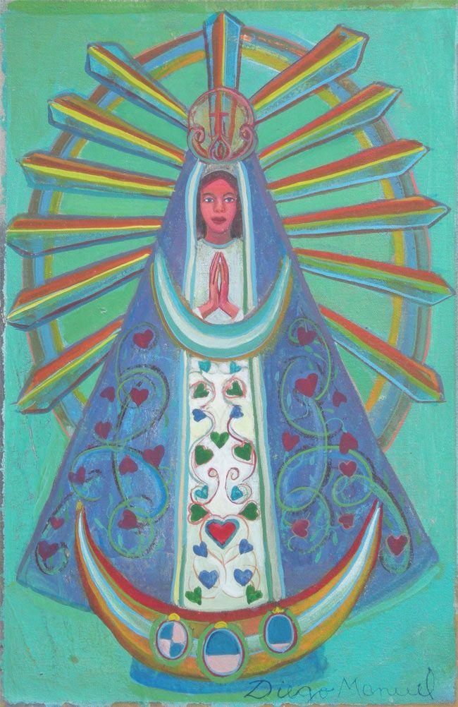 Virgen de Lujan 4, acrylic on canvas. 31 x 20 cm. 2015 painting by Diego Manuel Argentina virgen del buen viaje
