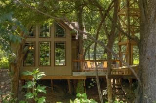 "Yes!! Treehouse rentals on River Road in New Braunfels, Texas! @Marissa Aschinger maybe you could ""camp"" in a treehouse like this? More like Glamping tho'. :)"