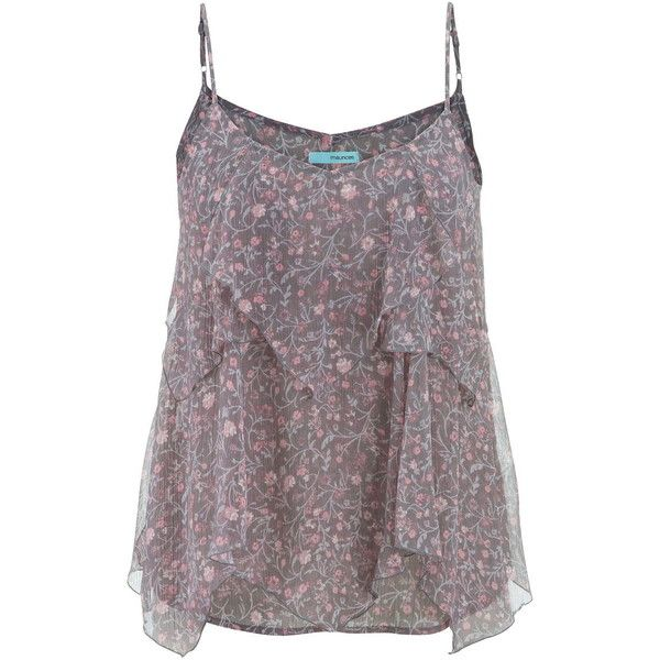 maurices Tank With Tiered Ruffles In Floral Print ($26) ❤ liked on Polyvore featuring tops, tank tops, tanks, grey, floral top, grey tank, floral tank top, floral chiffon top and layering tanks