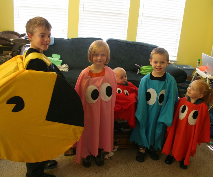 My kids decided that wanted to be Pac Man and the 4 ghosts for Halloween. So that put me and DaDee on task of creating all 5 costumes.