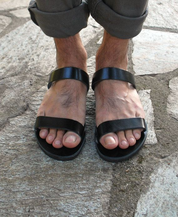 Mens Leather Slippers Leather Slides Mens Summer by NikolaSandals