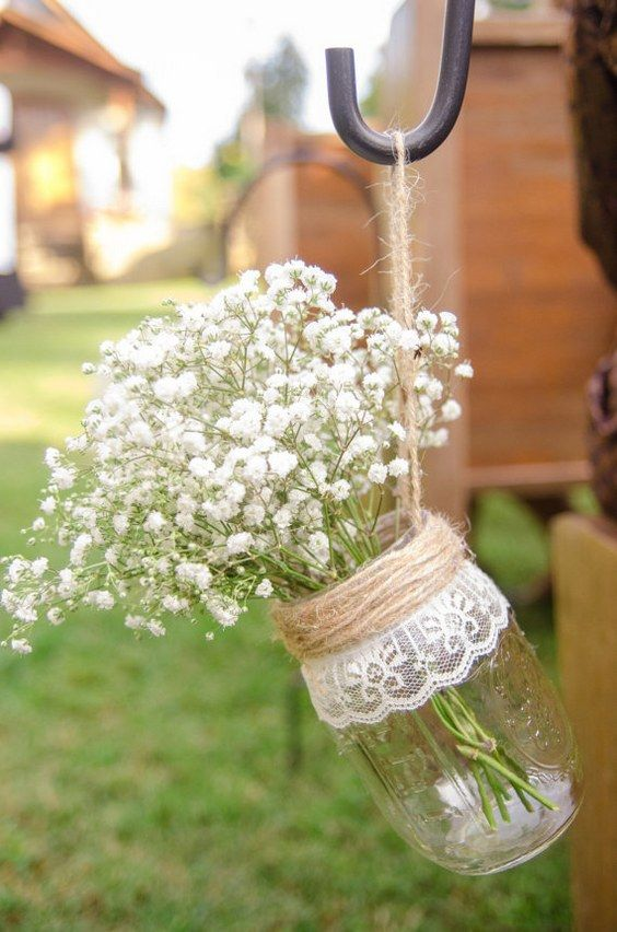 Rustic Wedding Mason Jar / http://www.deerpearlflowers.com/ideas-of-using-twine-for-rustic-wedding/