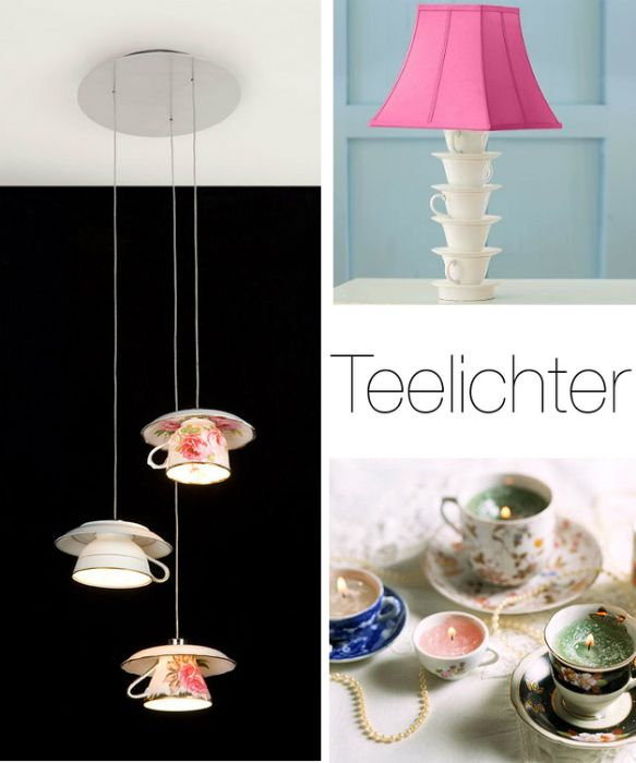 Teetassenlampen decorating with tea cups decorating for Cup decorating ideas