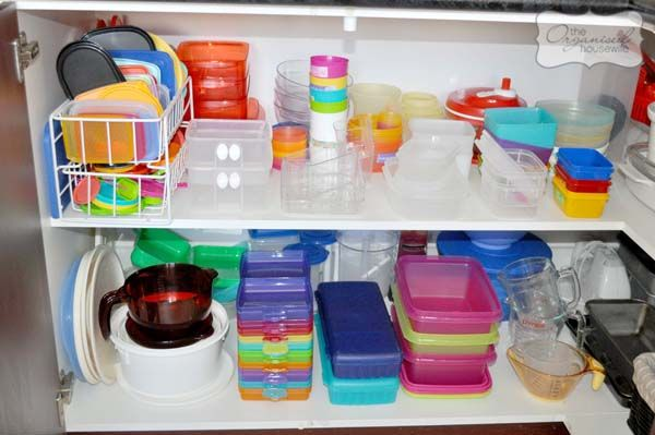 """Tupperware organising tip: """"When organising your cupboards use the: SOMETIMES, RARELY, DAILY approach.  Items that are used daily need to be easily accessible at the front of the cupboards or within arms reach. Keep the rarely and sometimes items on higher or lower shelves."""""""