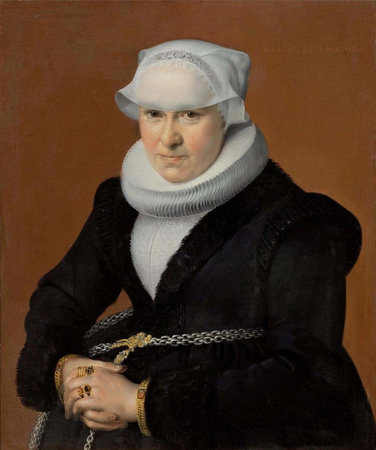 HOFMANN, SAMUEL (Zurich circa 1592 - circa 1648 Frankfurt am Main) Portrait of Anna Leu, née Locher at the age of 33. 1630. Oil on canvas laid on panel. Inscribed, dated and monogrammed upper right: AETATIS. 33. ANO 1630. S.H. 69 x 56.7 cm