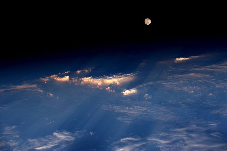 """Space Station View of the Full Moon Expedition 48 Commander Jeff Williams of NASA took this photograph on June 21 2016 from the International Space Station writing """"A spectacular rise of the full moon just before sunset while flying over western China."""""""
