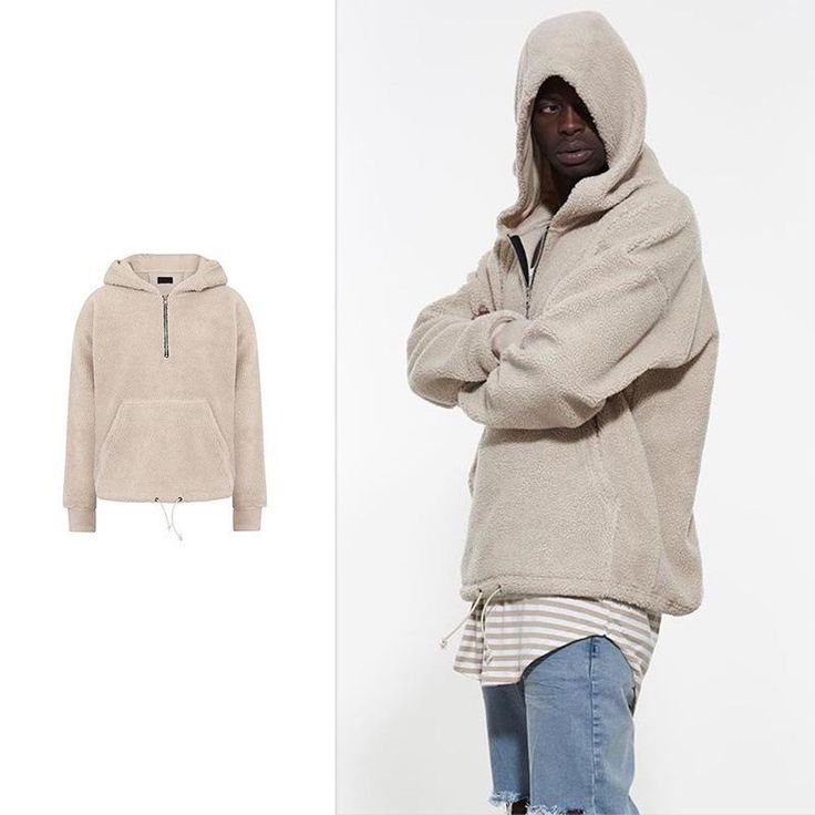 Mens Sherpa Hoodie fleece zipper sherpa fabric coat  High Street Pullover Hip Hop Sweatshirt Men Winter Mens Hoodies Man Hoody
