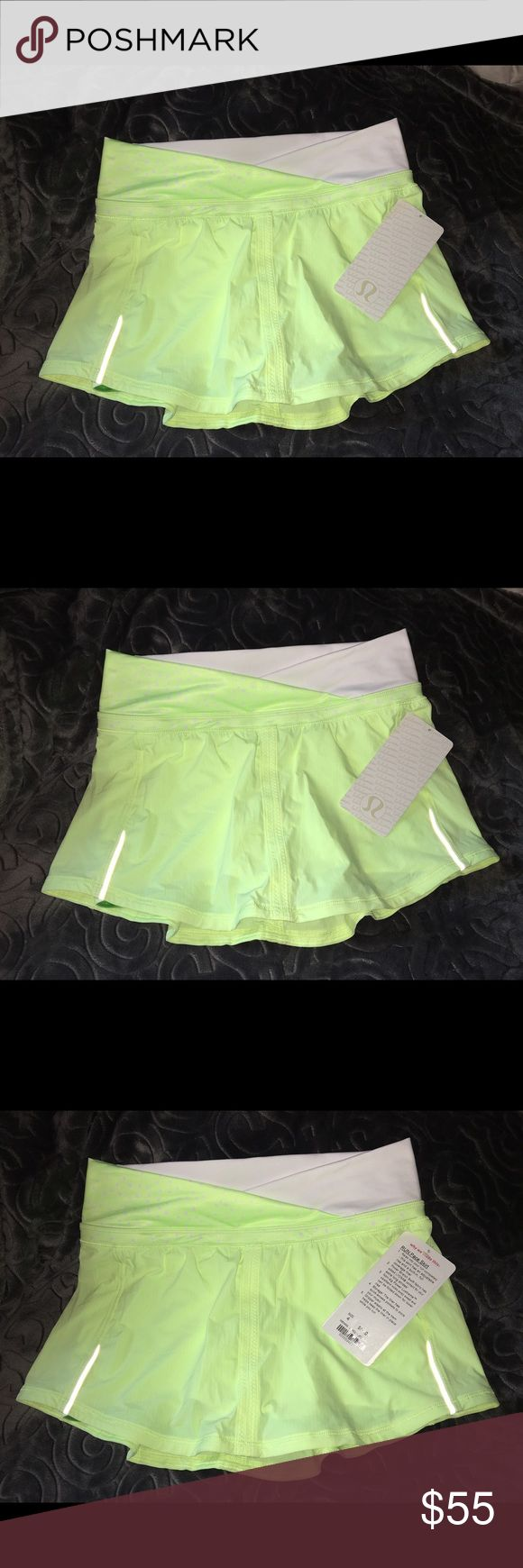 NWT LuluLemon Neon Green Pace Skirt SIZE4 Very nice LuluLemon skirt with shorts underneath that have POCKETS. Will take REASONABLE offers. Great skirt for playing tennis 🎾. lululemon athletica Skirts