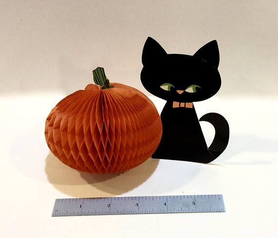 Vintage Halloween Cat Die Cut Cat Honeycomb Tissue Pumpkin