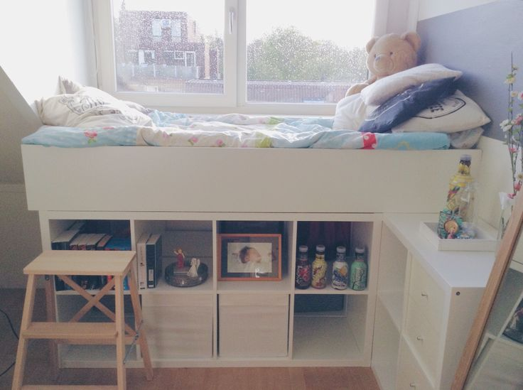 Bed made out of 3 Kallax closets and a Billy closet from Ikea