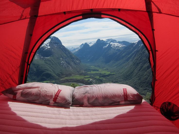 Wonderland beds at the top of mountain Nesaksla during the Norwegian Mountain Festival in Åndalsnes, Norway.