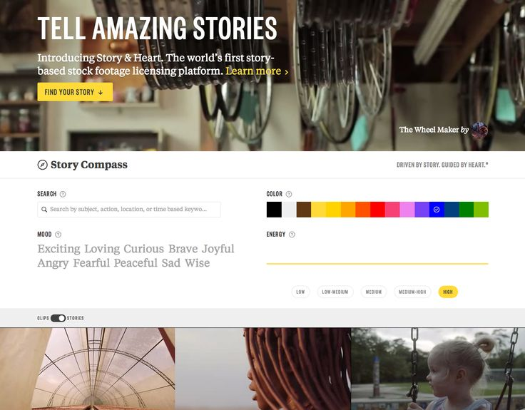 A cool approach for stock photos and videos collection. The idea is - look for a story, not for stock. A great and simple filter is used to search stories. #interactive #web #video #entertainment #filter #ux