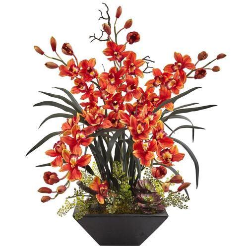 Cymbidium Orchid With Black Vase In 2020 Orchid Flower Arrangements Artificial Orchids Orchid Arrangements