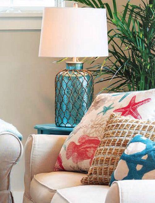 Blue Aqua Nautical Net Table Lamp.... http://www.completely-coastal.com/2016/10/sandy-beige-red-aqua-coastal-living.html