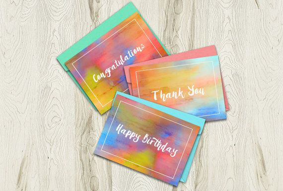 Printable Card Bundle Set of 3 by Playful Pixie Studio.  A great package, these cards can cover so many occasions :)  Print over and over again! #greetingcard #printable #watercolour