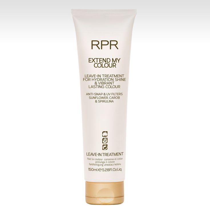 RPR Extend My Colour Leave-In Treatment. For hydration, shine & vibrant lasting colour. Anti-Snap & UV Filters.  Coconut Oil, Carob & Spirulina.