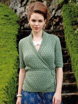 Quartz - Knit this womens textured wrap over cardigan from the Truesilk Collection, designed by Martin Storey using the gorgeous yarn, Truesilk (mulb...