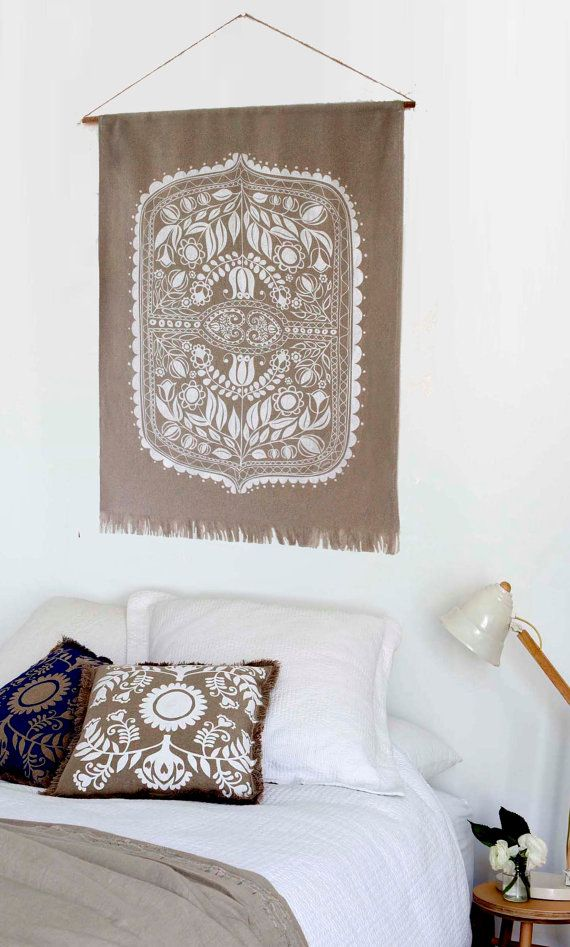 Free Shipping, Silk screen printed linen wall hanging with folk art print